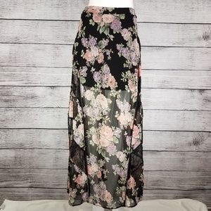 ASTR the label Maxi Skirt Sheer Floral Side Slits
